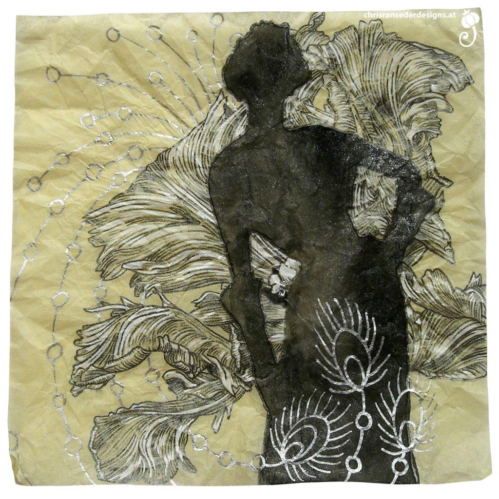 Drawing of a women with a large tulip. Zeichnung einer Frau mit einer großen Tulpe.