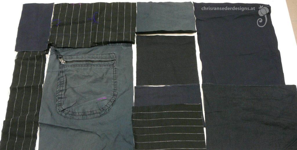 Assembling pieces of cloth. | Zusammenstellen von Stoffstücken.