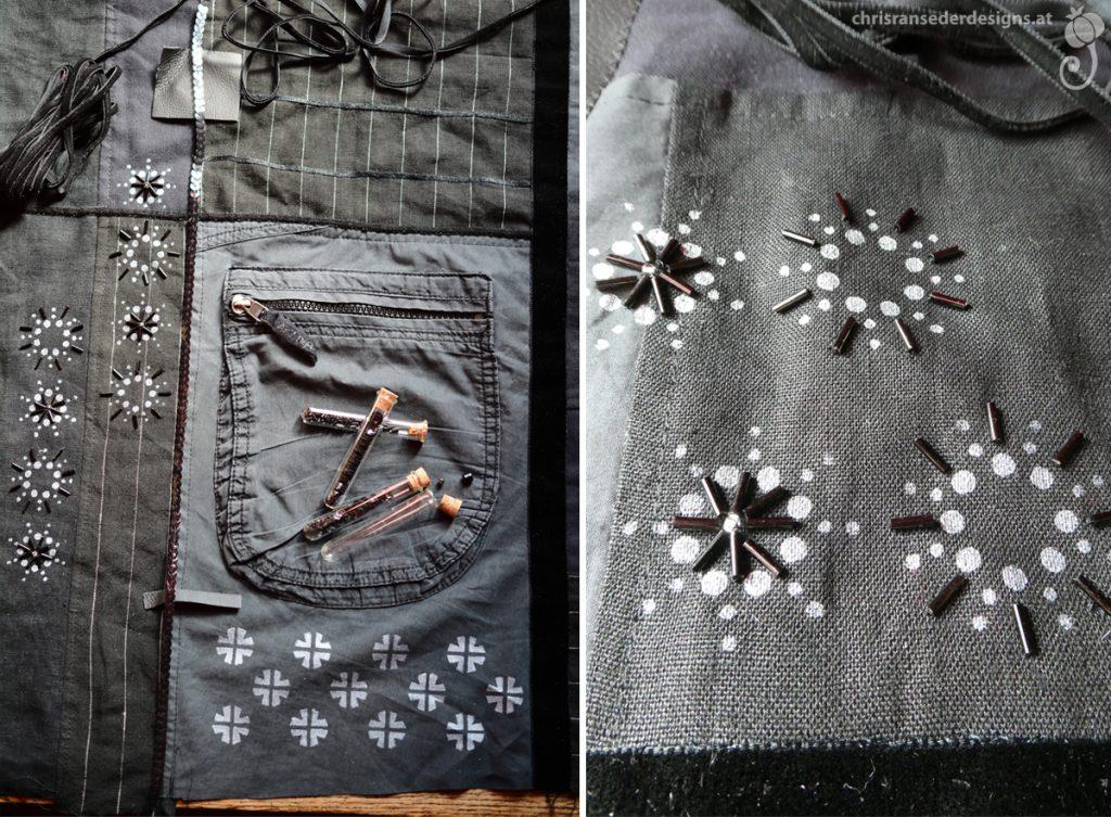 Experimenting with the placing of ribbons and beads. | Der Versuch herauszufinden, wo Bänder und Glasperlen aufgenäht werden sollen.