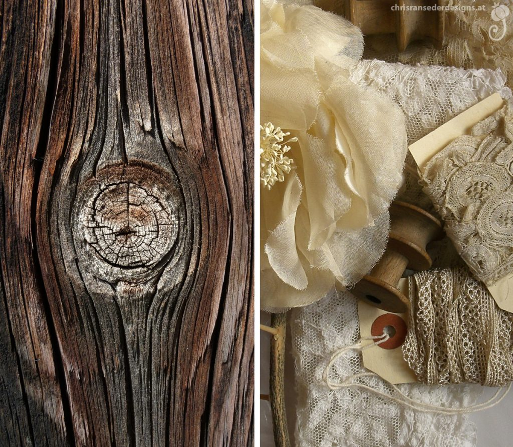 Close-up of a wooden board. Still life with lace, artificial flower and old wooden spools. | Detail eines Holzbrettes. Stillleben mit Spitzen, Kunstblume und alten hölzernen Spulen.