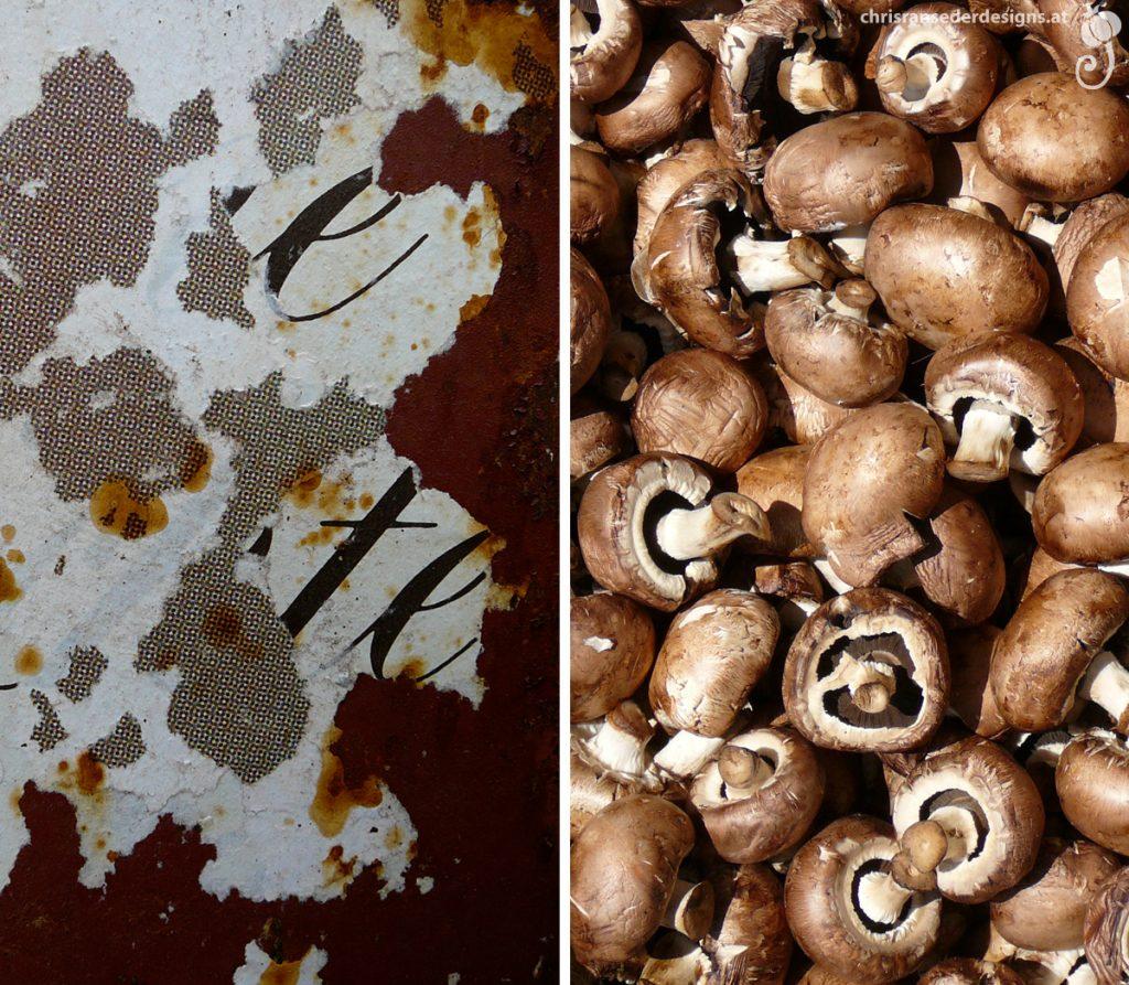 Peeling paper. Mushrooms. | Abblätterndes Papier. Pilze.