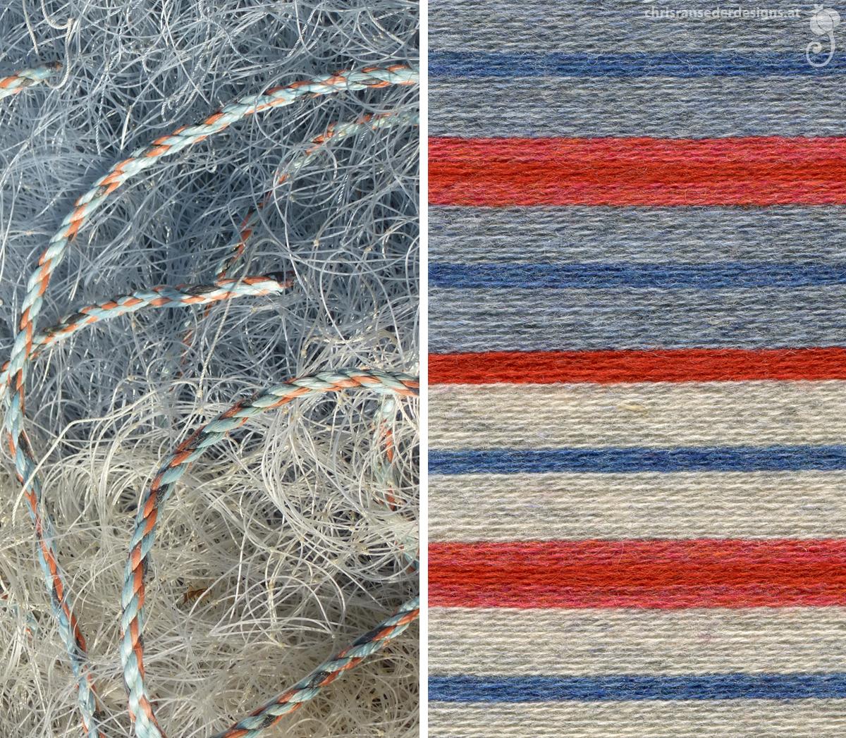 Detail of a fishing net and shade card. | Detail eines Netzes für den Fischfang und Farbkarte.