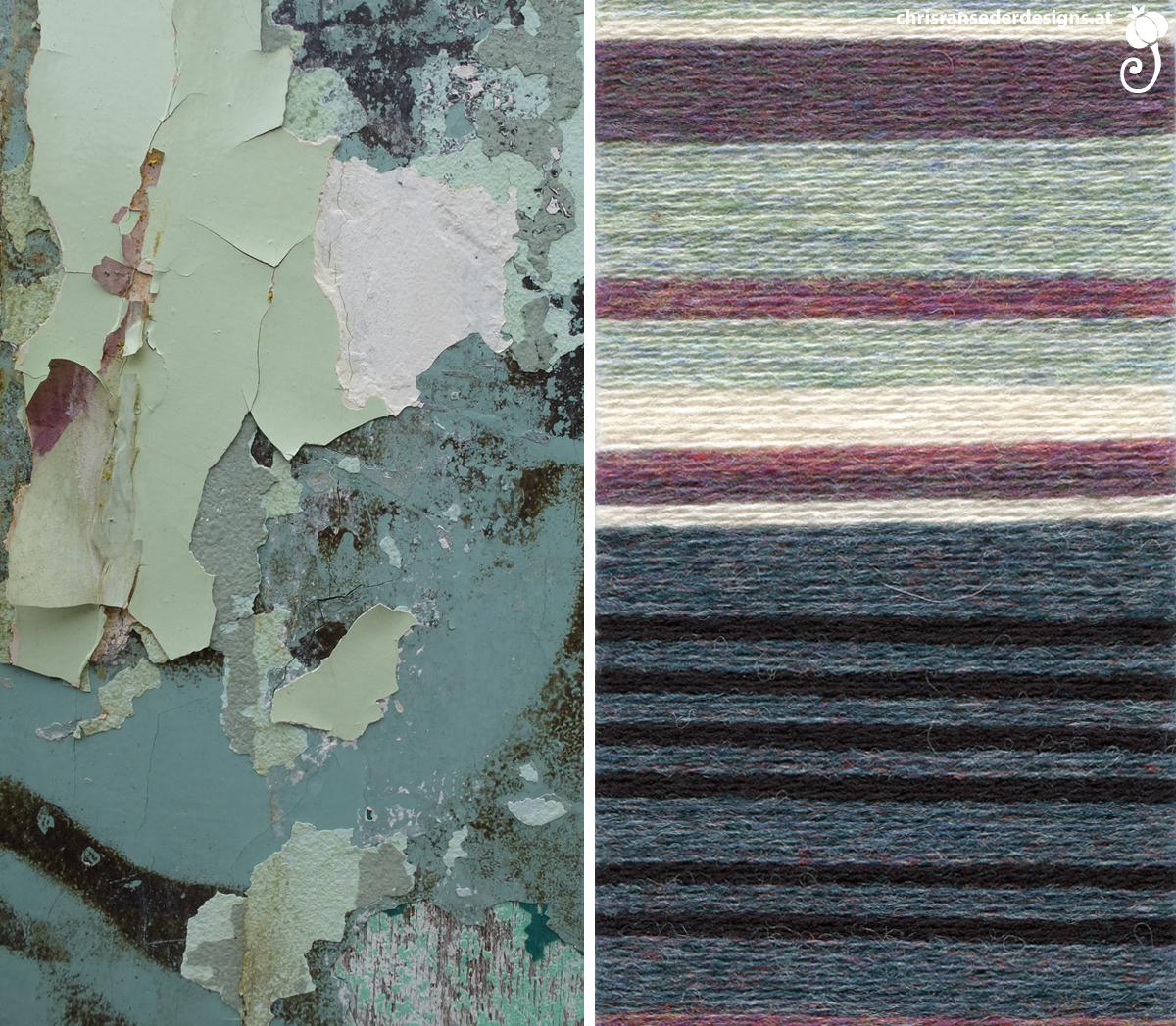 Picture of peeling paint. My Color Bliss palette. | Foto abblätternder Farbe. Meine Farbzusammenstellung.
