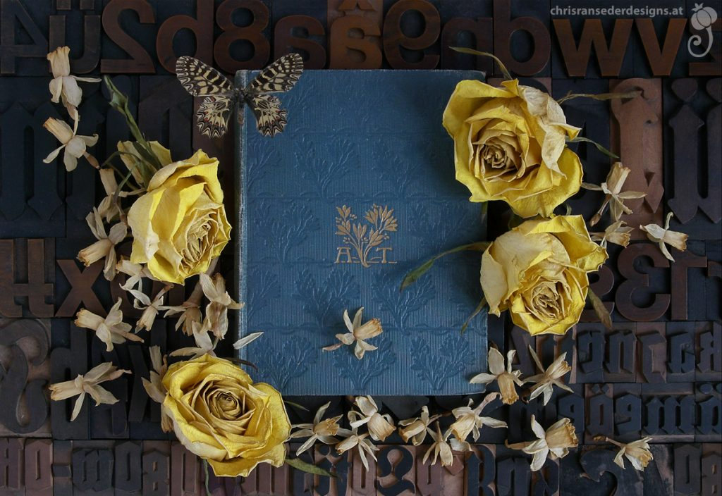 Still life with book and yellow flowers. | Stillleben mit Buch und gelben Blumen.