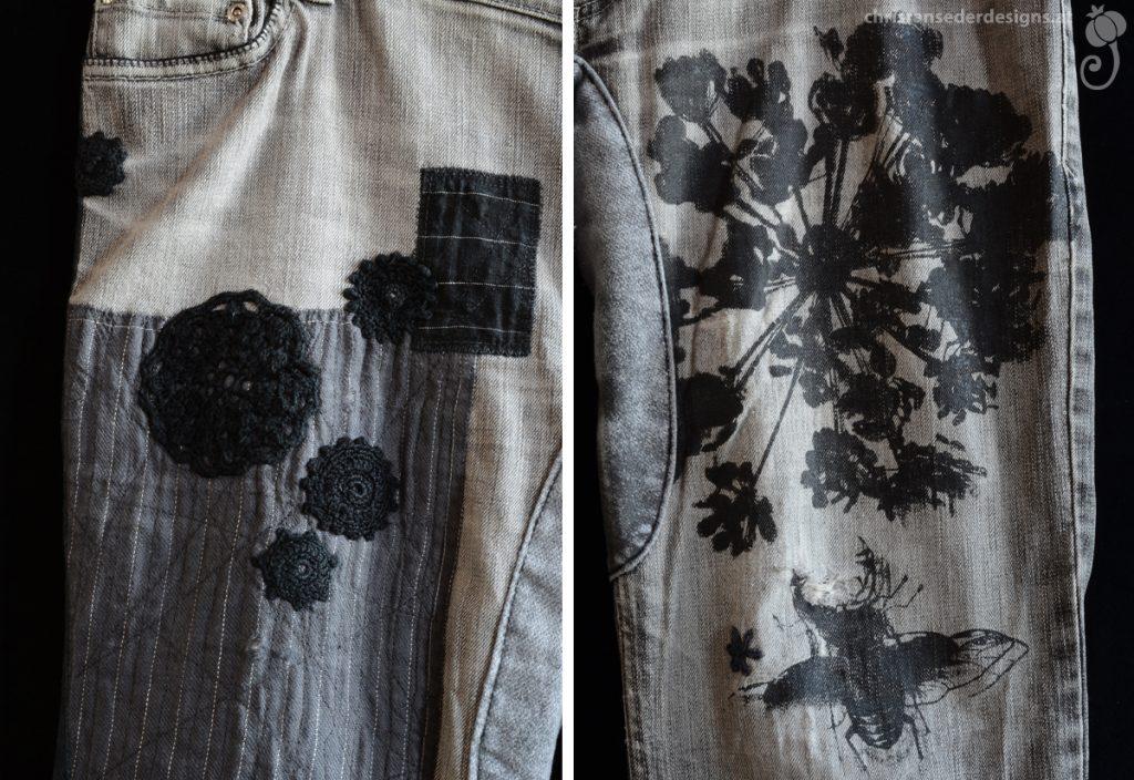 Detail of the trousers with patches, screenprints and crochet work.   Detail der Hose mit aufgenähten Flicken, Siebdruck und  Häkelflicken.