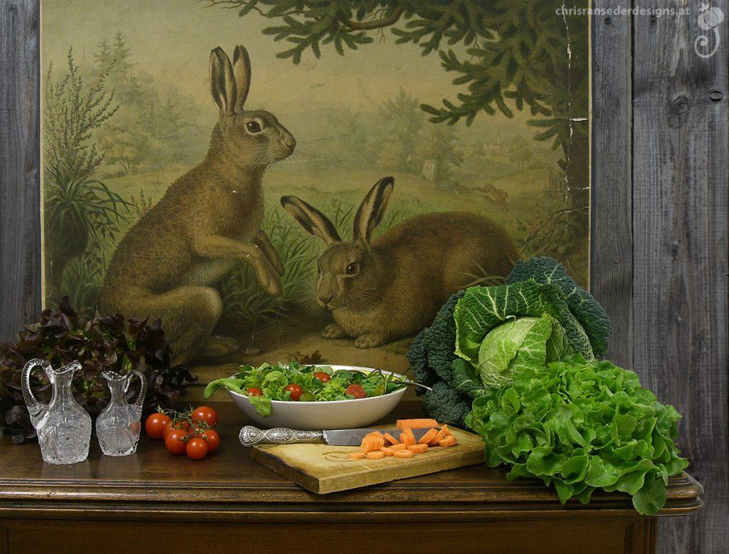 Still life with different lettuces and carrots on an wooden table. A wall chart showing two rabbits leans on the wall. | Stillleben mit unterschiedlichen Salaten und Karotten auf einem Tisch aus Holz. An der Wand lehnt eine Schulwandtafel, die zwei Hasen zeigt.