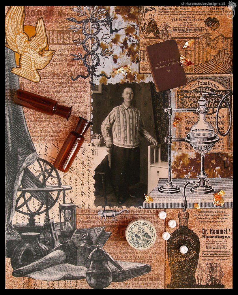 Collage with picture of a young woman. | Collage mit historischem Foto einer jungen Frau.