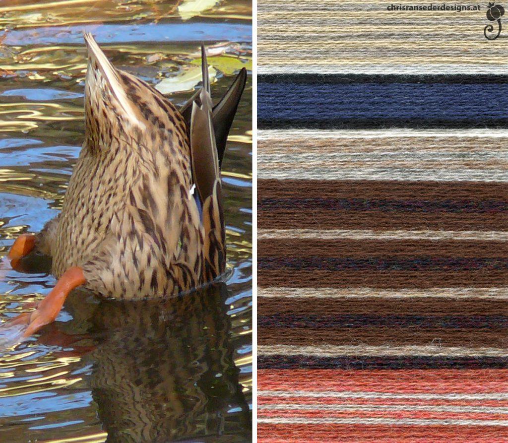 Diving duck. Colour palette, mostly of brown, beige and orange yarn. | Tauchende Ente. Farbkarte, hauptsächlich aus braunen, beigen und orangen Wollfäden.
